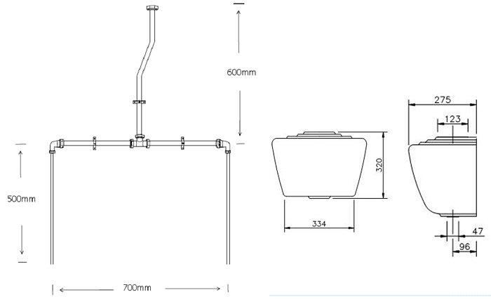 Exposed china urinal cistern with pipework kit for 2 urinals Pipe Diagram Bathroom Urinal Pipe Diagram Vacuum Breaker Piping Diagram