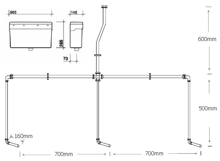 Concealed urinal cistern with pipework kit for 3 urinals Waste Piping Diagram Jacuzzi Piping Diagram Whirlpool Piping Diagram