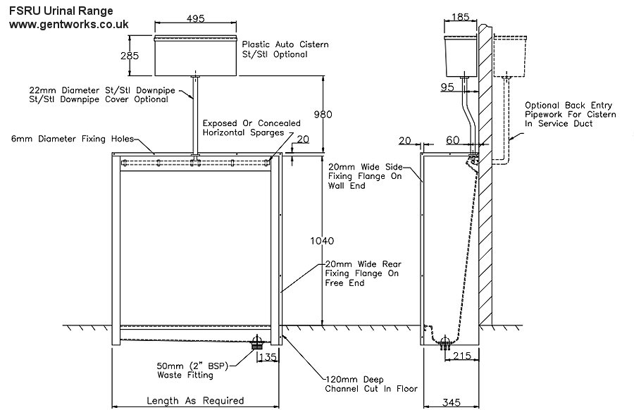 gentworks stainless steel urinals floor slab urinal 1800mm rh gentworks co uk Wall Mount Urinal Piping Diagram Water Heater Piping Diagram