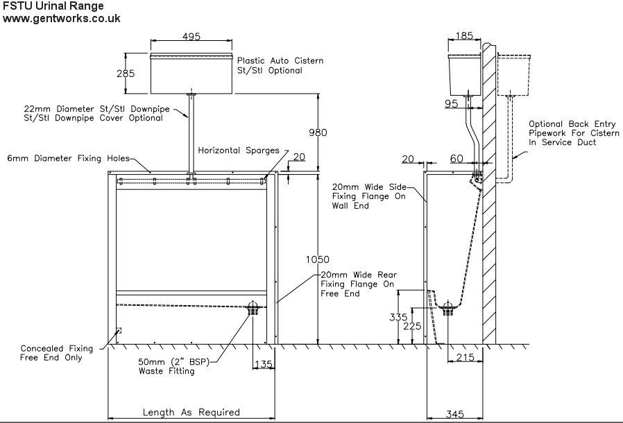 Fstu range gentworks stainless steel urinals Pressure Tank Piping Diagram Mixing Valve Piping Diagram Kitchen Sink Pipe Diagram