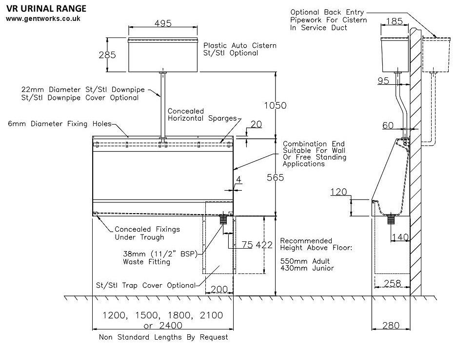 Vr Range Gentworks Stainless Steel Urinals